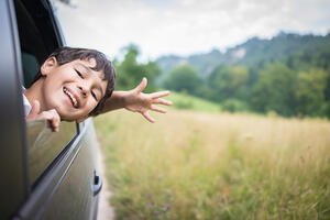 Happy kids travel by the car-1