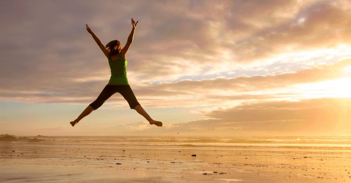 """Person jumping into the air """"leveling up"""""""