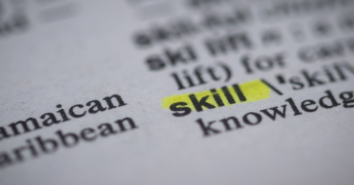 dictionary page picture with the word skill highlighted